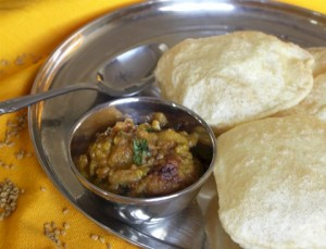 Fenugreek seeds & Potatoes with Poori