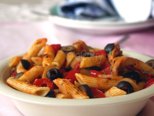 penne pasta with red pepper pesto3