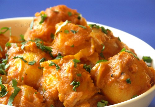 Dum Aloo: Potatoes Simmered in Spices & Coconut Milk | eCurry - The ...