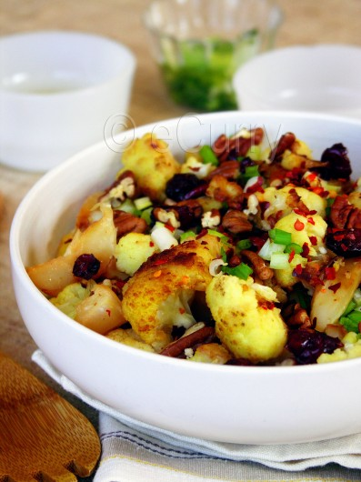 Cauliflower with Nuts, Cranberries and Spices 1