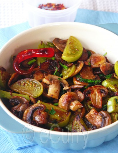 Mushroom and Green Tomato Stir Fry 3