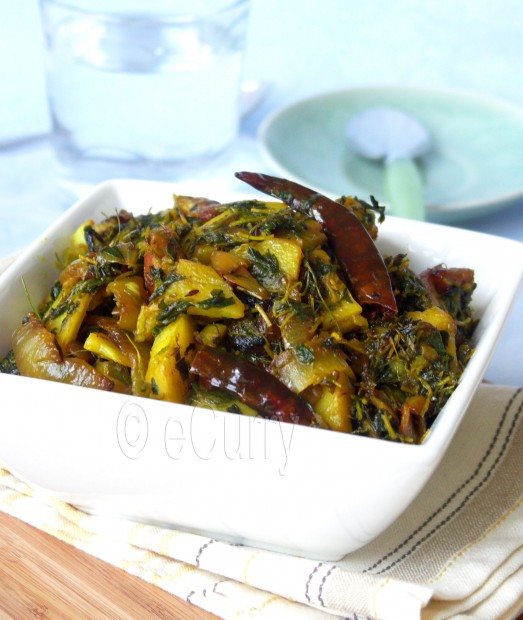 Aloo Methi / Potatoes flavored with Fenugreek