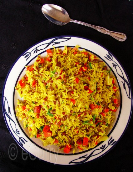 Brown lentil and Rice Pilaf