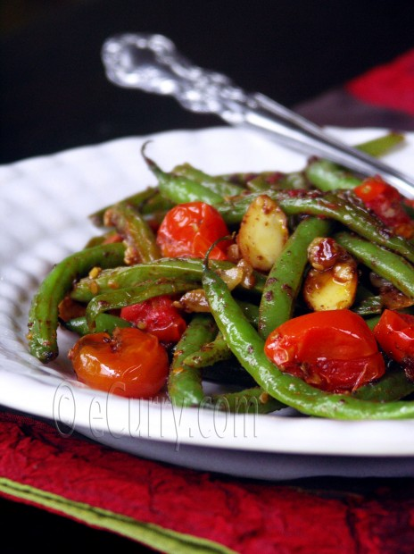 ... peppers almonds a hint of saffron green bean salad with fried almonds