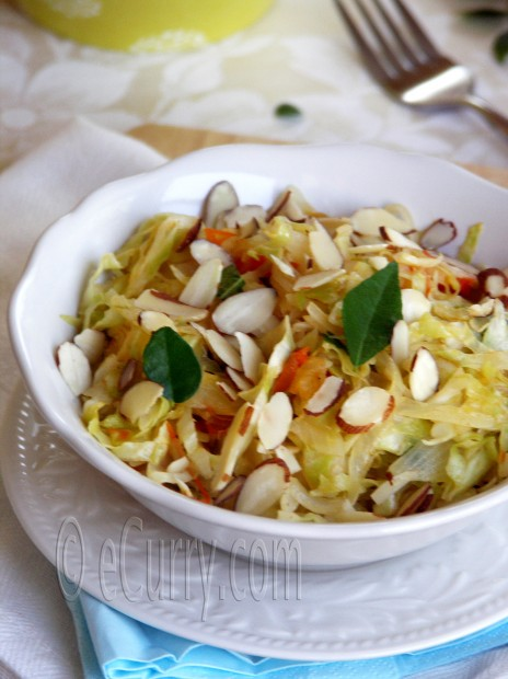 Sautéed Cabbage and Sweet Onions with Almonds | eCurry ...