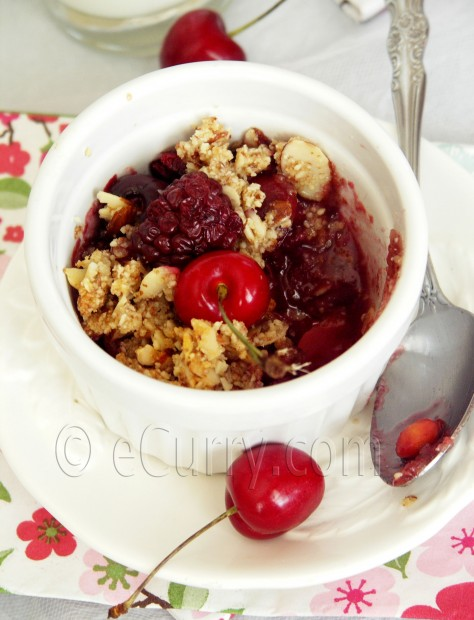 Cherry Blackberry and Almond Crisp