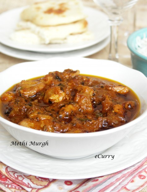 Methi Murgh/Chicken Curry with Fenugreek Leaves
