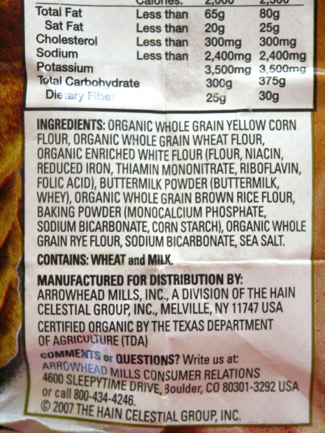 Arrowhead Mills Multigrain Pancake & Waffle Mix- Ingredients