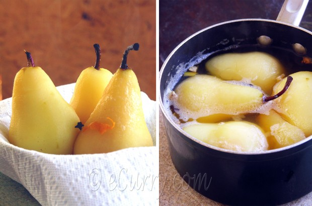 Spiced Poached Pear with Chocolate Sauce