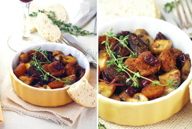 Sausages with Onion, Mushrooms and Dried Fruits