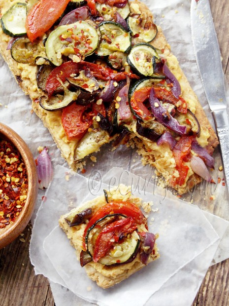 Grilled Vegetable Hummus Tart