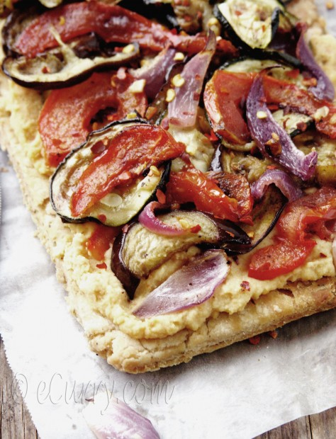Grilled Vegetable and Hummus Tart | eCurry - The Recipe Blog