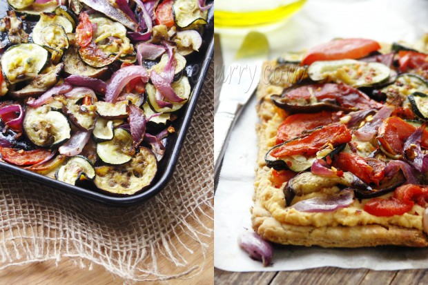 Grilled Vegetable Hummus Tart Diptych
