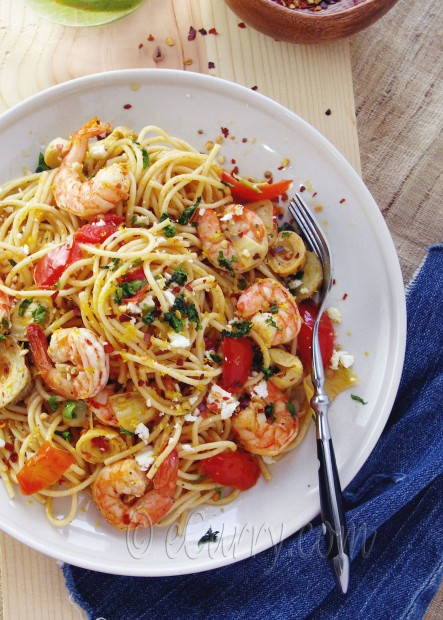 Spaghetti with Shrimp Artichokes and Feta