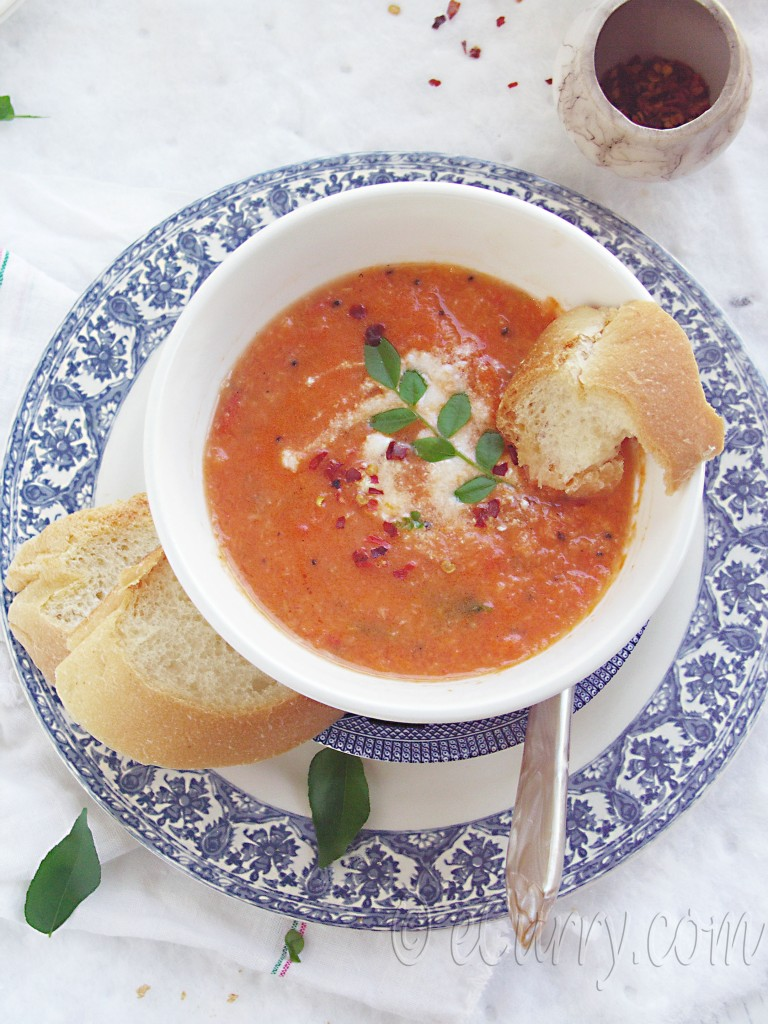 Light Tomato Coconut Soup/indian tomato coconut soup/easy tomato soup