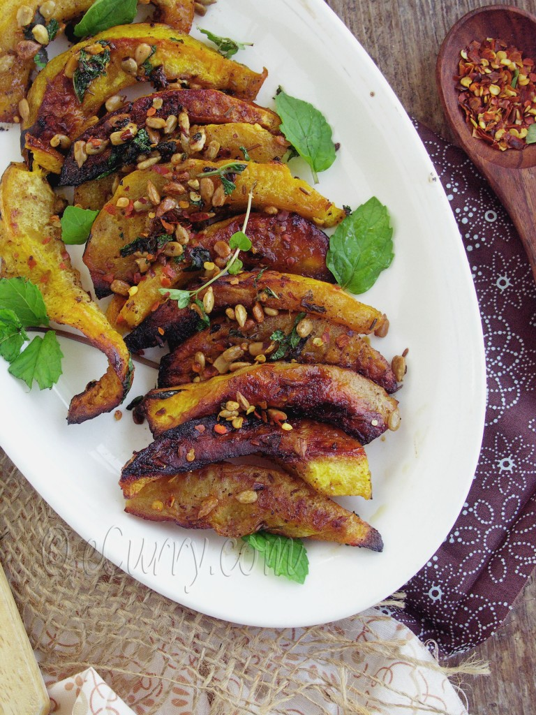 Roasted Acorn Squash with Mint, Sumac and Sunflower Seeds | eCurry ...