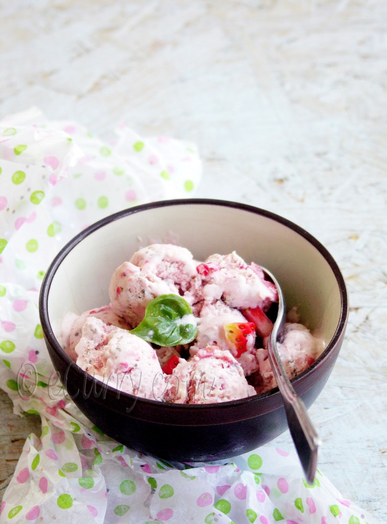 Strawberry Basil Ice Cream, summer dessert, pink dessert, ice cream recipe, ice cream without ice cream maker, ice cream without egg, ice cream without custard, basil ice cream, fresh fruit ice cream