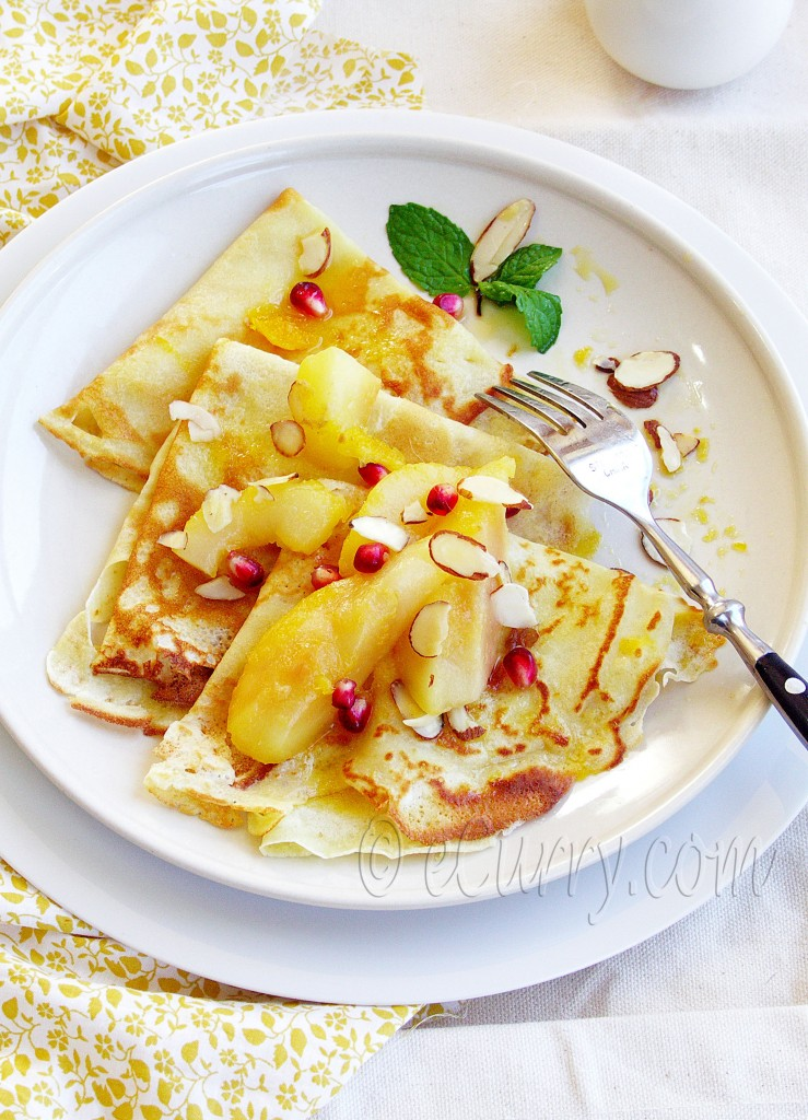 crepes with poached pear