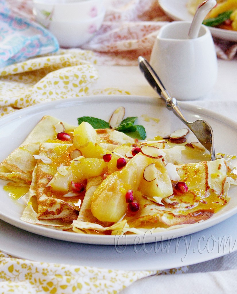 crepes with poached pears