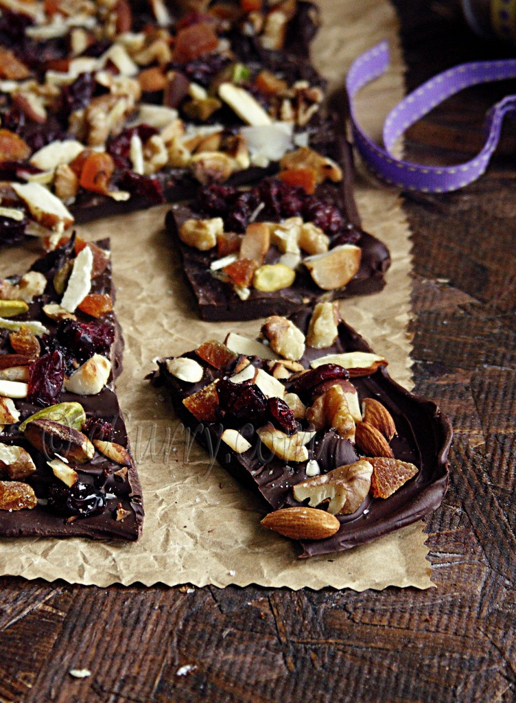 Dried Fruit and Nut Chocolate Bark | eCurry - The Recipe Blog