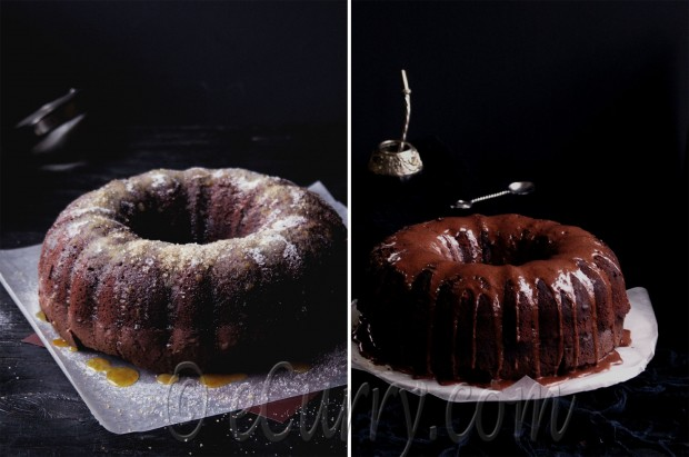 Mocha Rum Cake Diptych