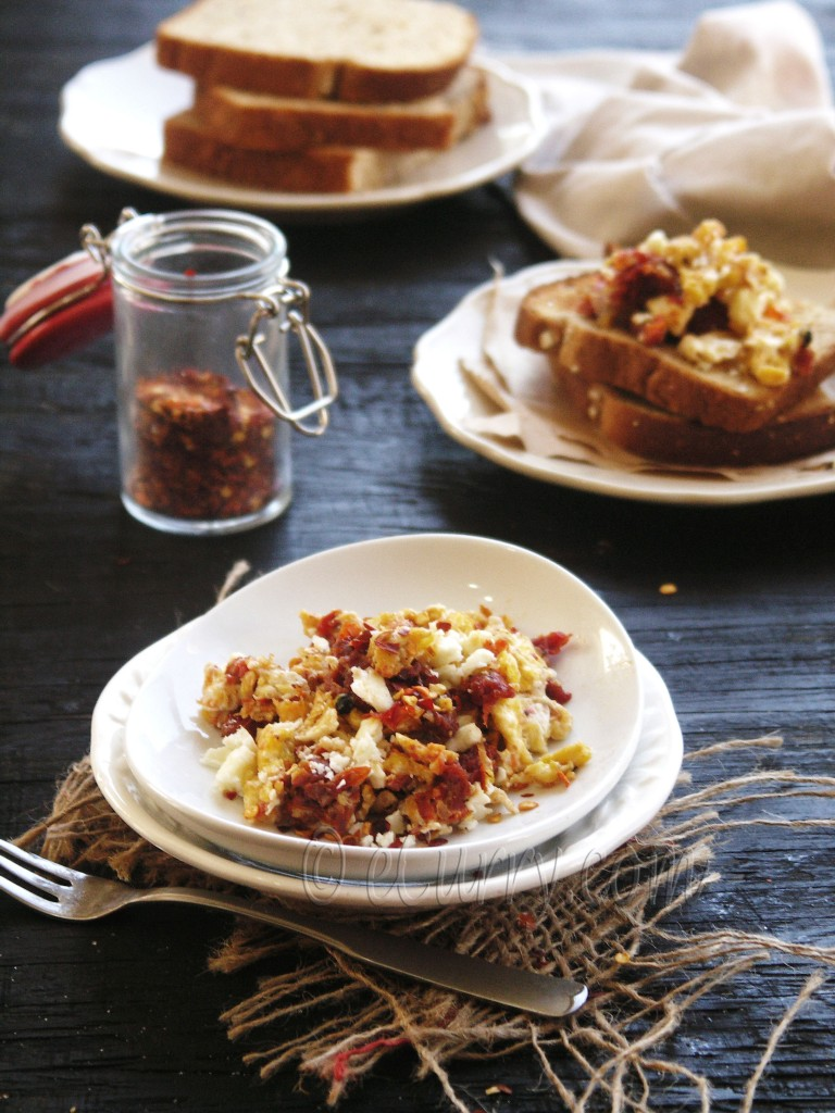 Scrambled Egg with Sun Dried Tomatoes and Feta