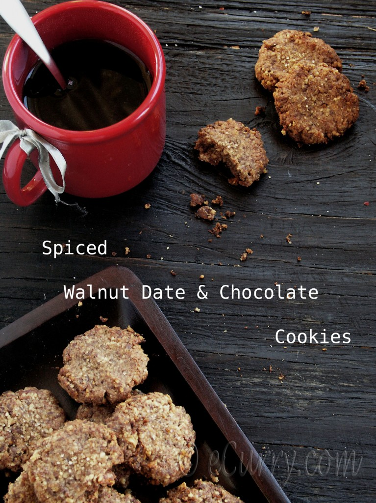 Spiced Walnut Date and Chocolate Cookies | eCurry - The Recipe Blog
