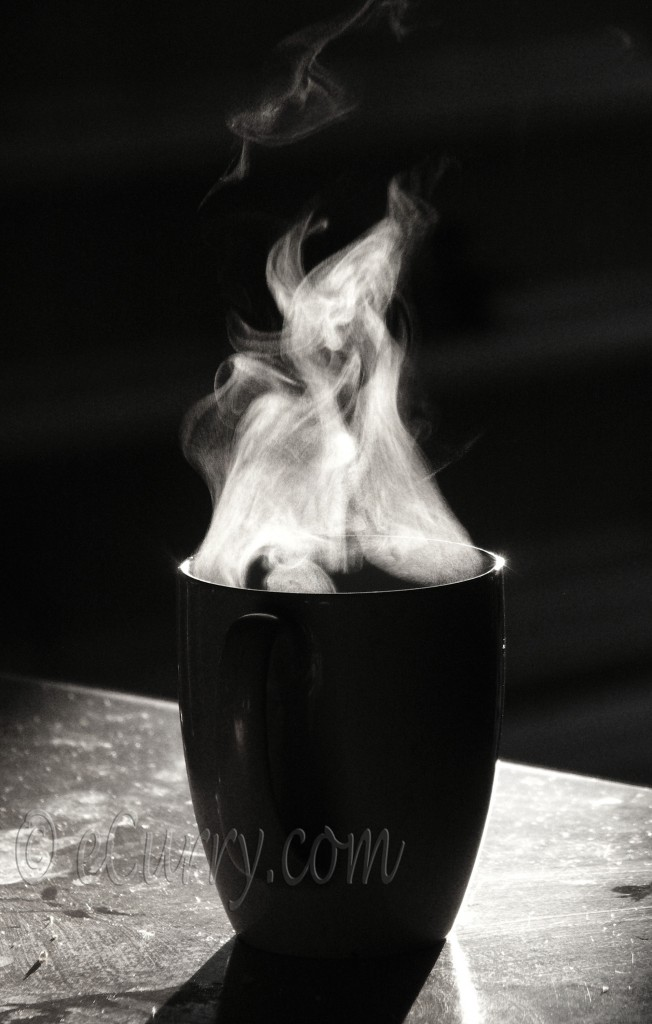 a cup of coffee, a cuppa, B&W wednesday, black and white photograph, black and white photographs, break, Coffee, coffee break, cup, mug, photograph of a cup, photography, smoke, steam, tea break