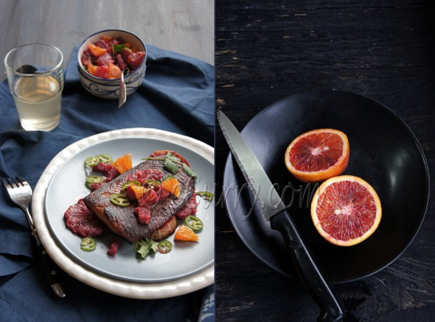 Glazed Salmon with Blood Orange Salsa Diptych