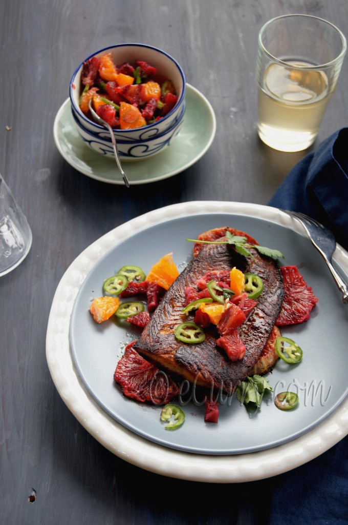 glazed salmon with blood orange salsa