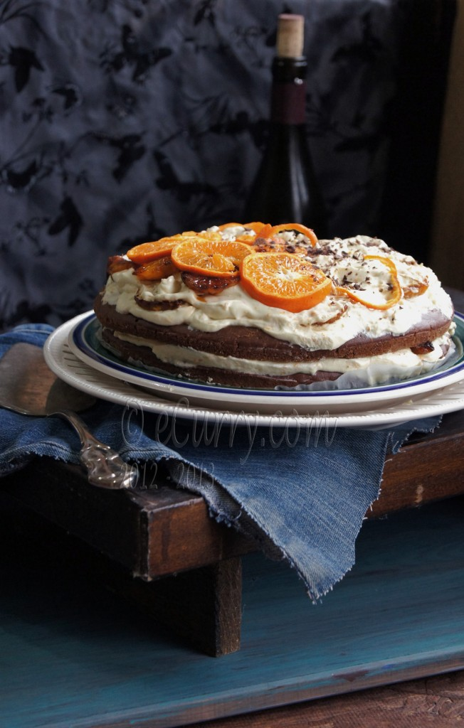 Chocolate Cake with Orange Cream and Caramelized Oranges