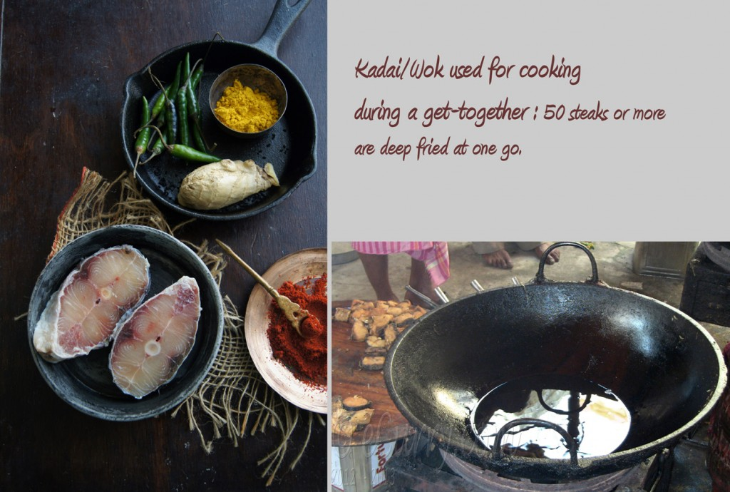 Fish Curry Diptych - raw fish getting deep fried
