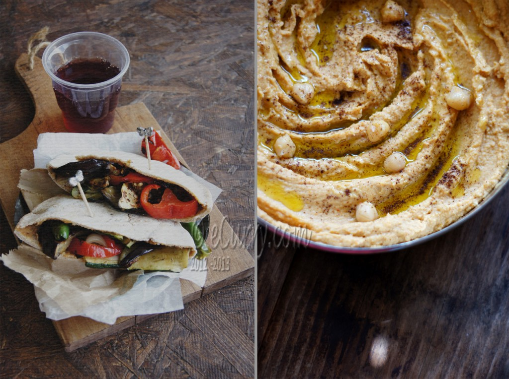 Hummus Stuffed Pita with Roasted Vegetables Diptych 1