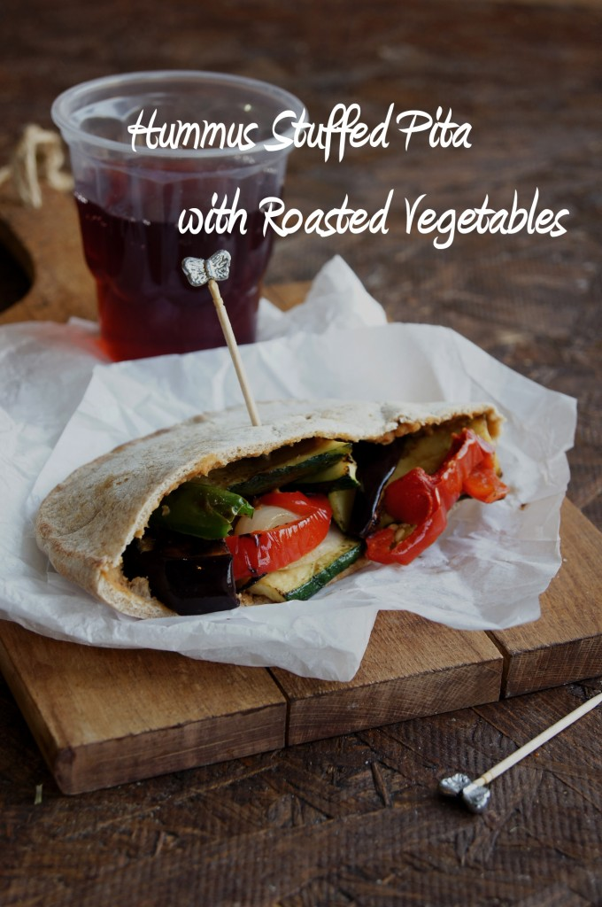Hummus Stuffed Pita with Roasted Vegetables | eCurry - The Recipe Blog