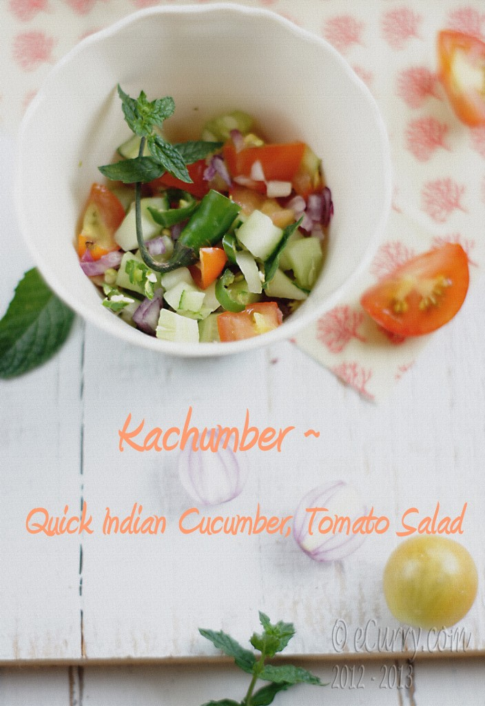 Kachumber: Quick Indian Cucumber, Tomato Salad | eCurry - The Recipe ...