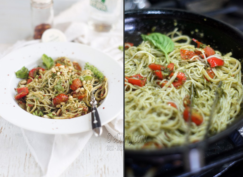 Pasta with Basil pesto Diptych 3