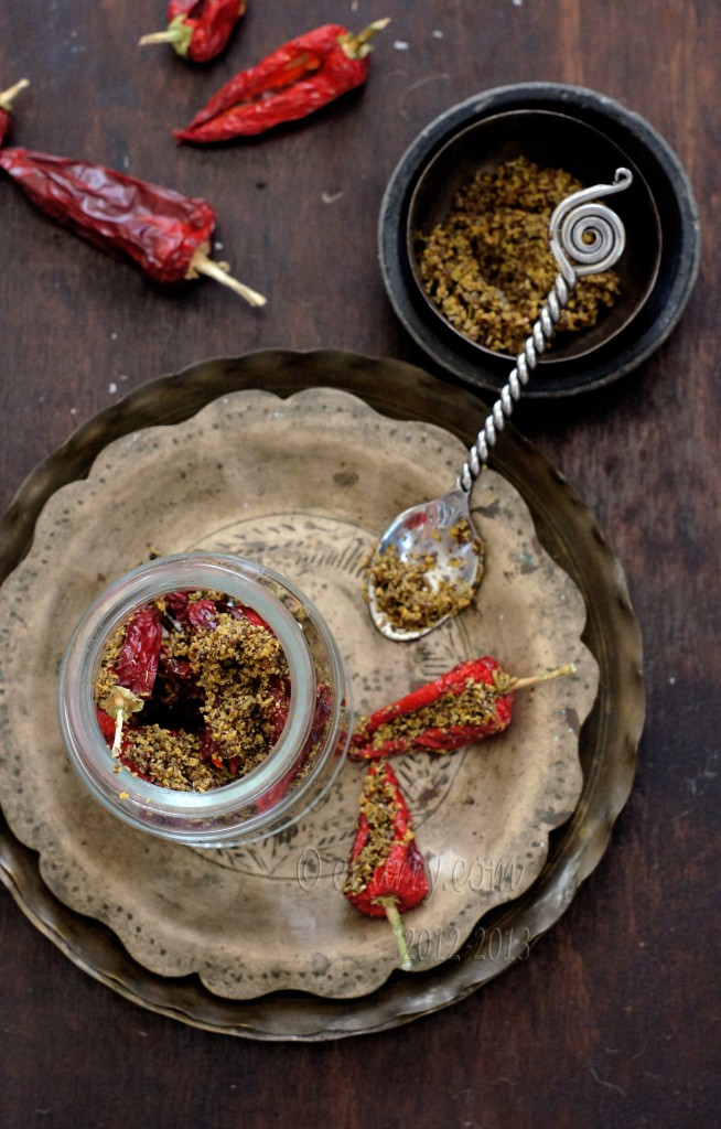 Laal-Mirch-Ka-Aachar Indian stuffed red pepper pickle