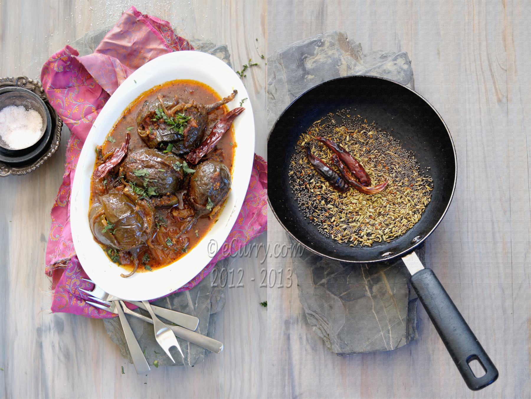 Achari baingan - Eggplant with Pickling Spices