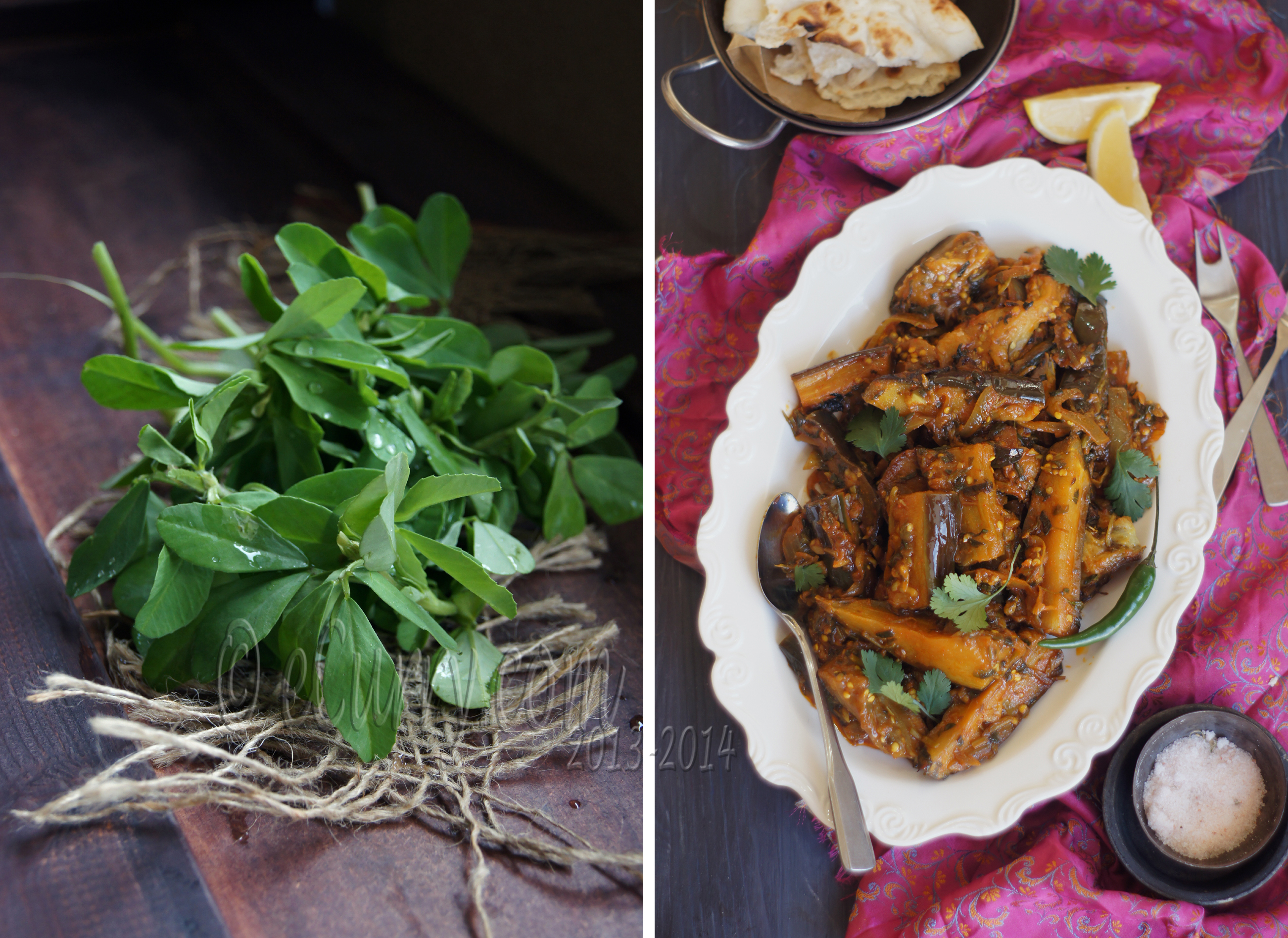 Methi Baingan: Eggplant with Fenugreek Leaves | eCurry - The Recipe ...