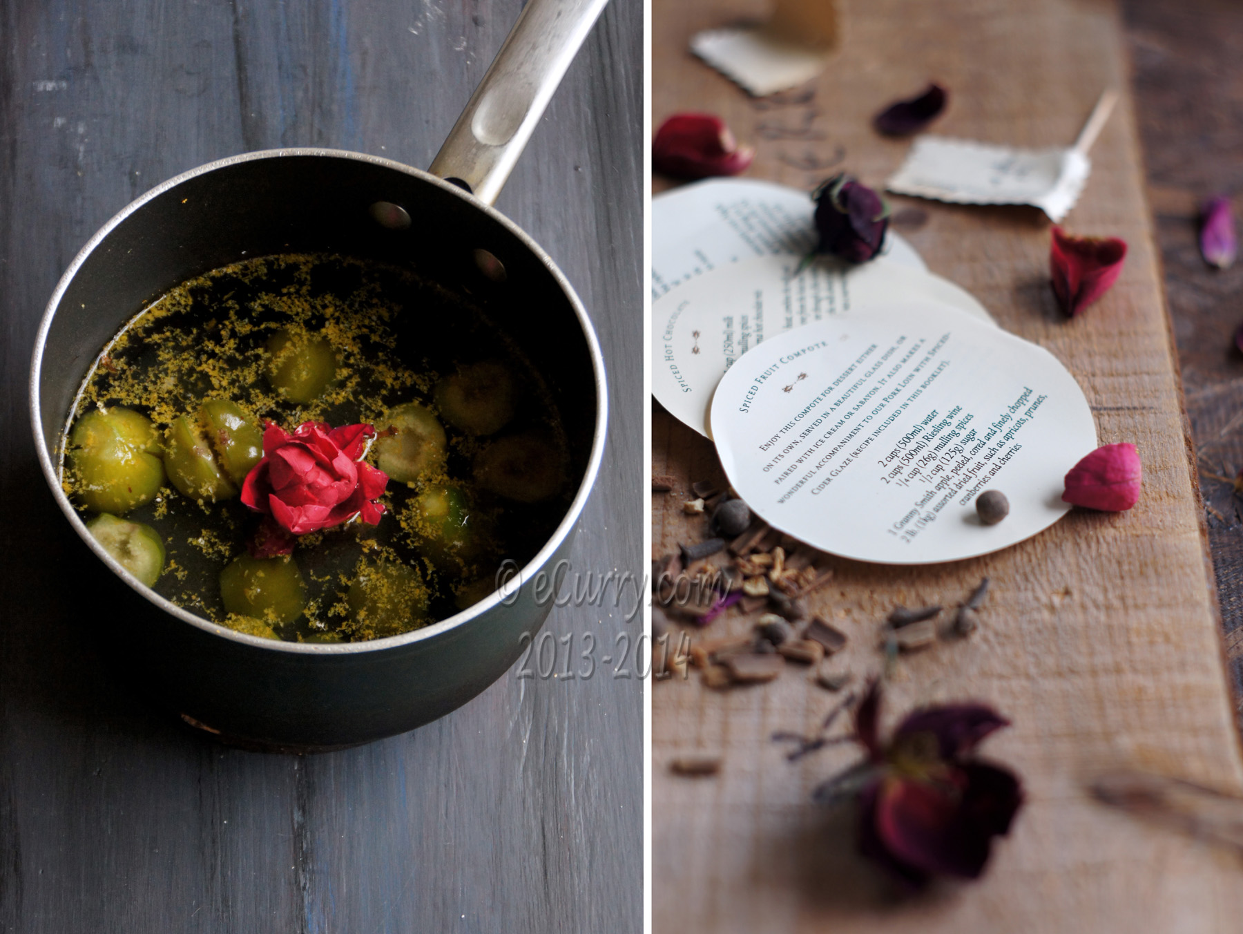 Preserved Figs with spices and rose petals diptych 1