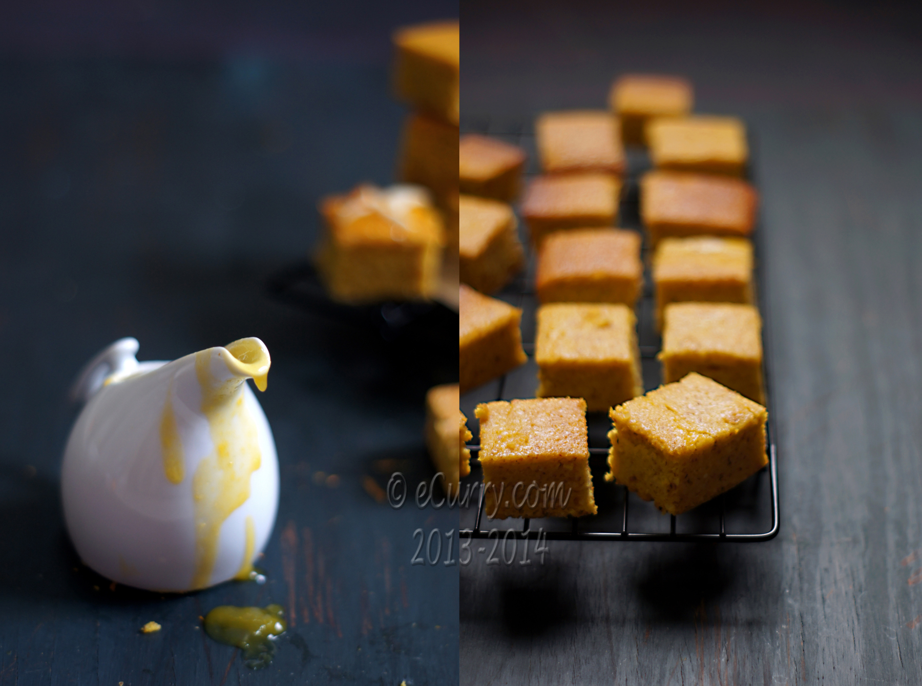 Almond Orange Cake with Spiked Orange Sauce Diptych 1