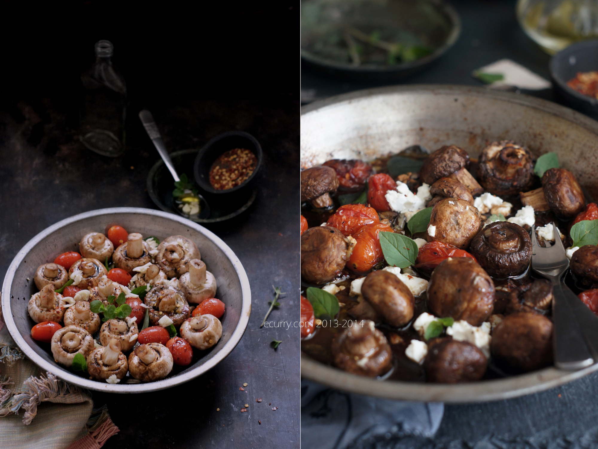 Balsamic Roasted Mushrooms Diptych 1