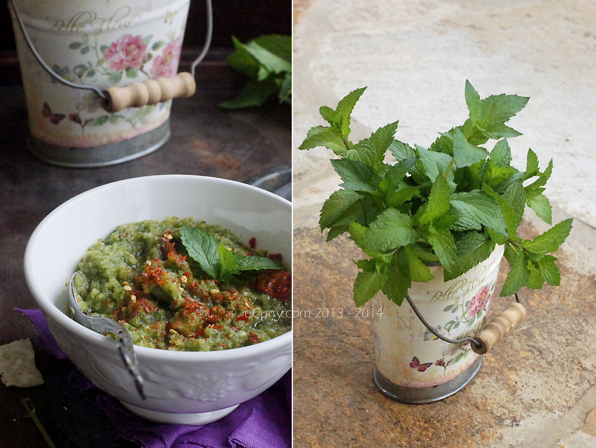 Green Mango and Mint Chutney Diptych  2