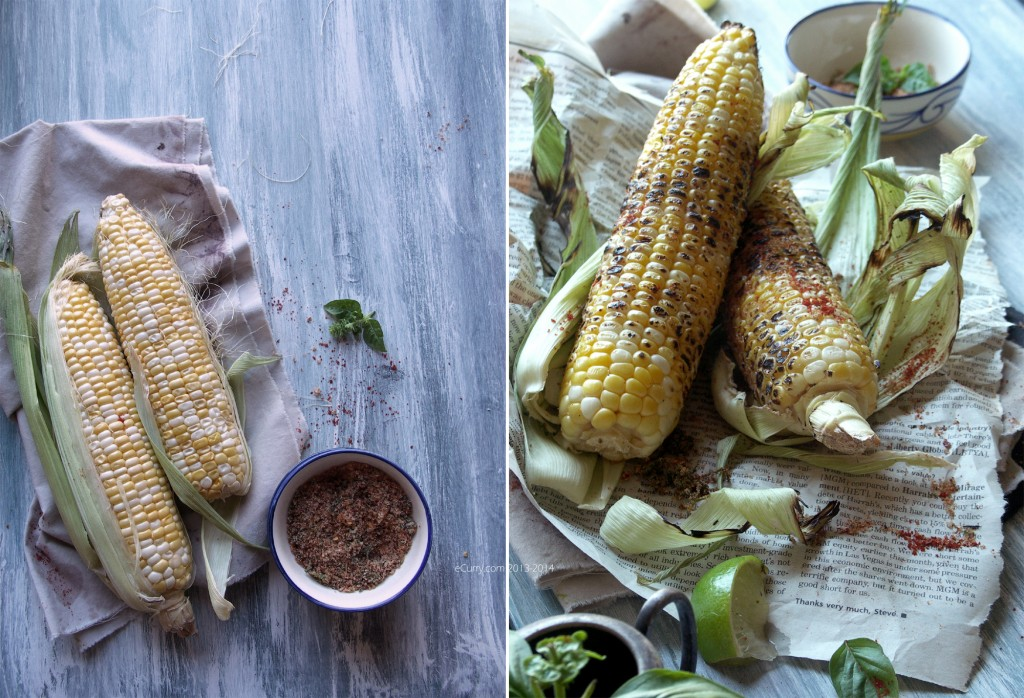 Grilled Corn with Lime and Chili, Basil Salt
