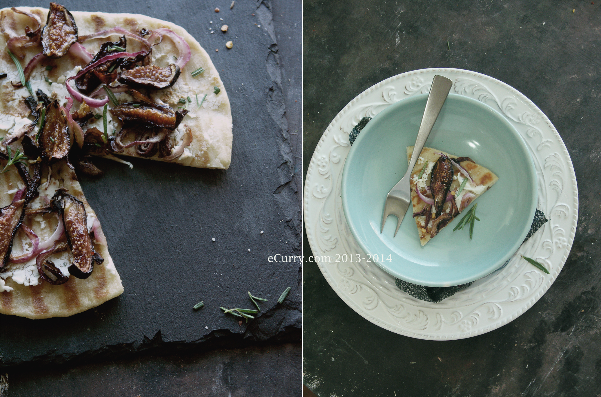 Naan Pizza with Roasted Figs Diptych 1