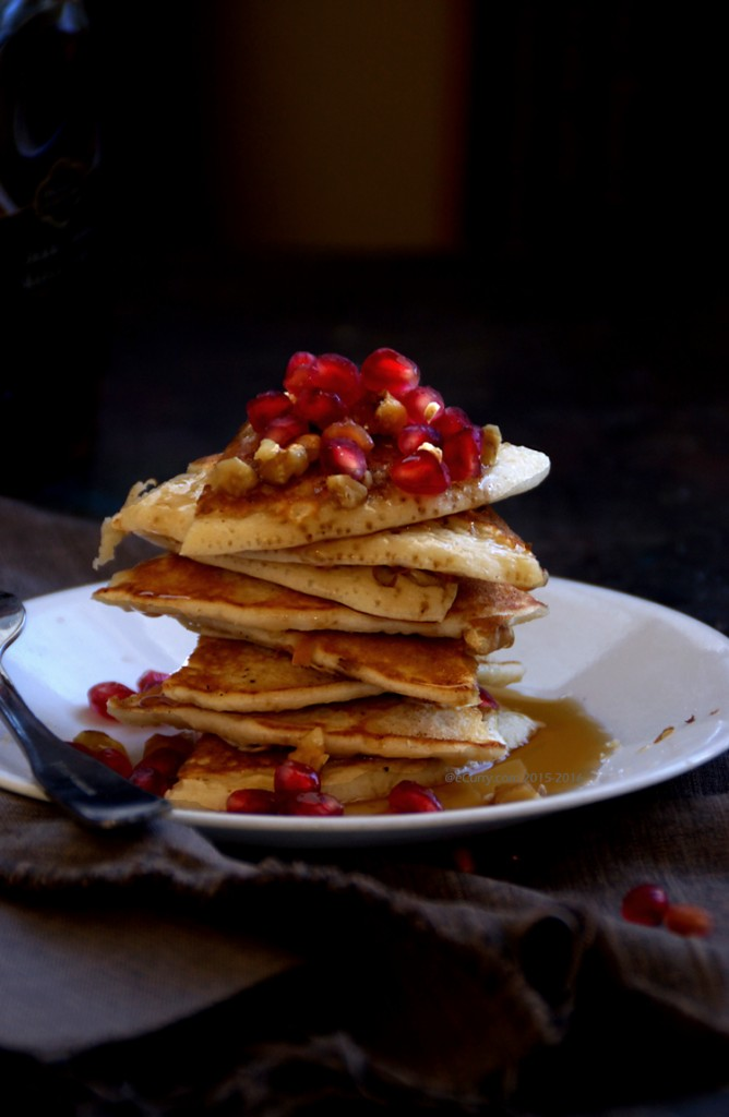 Maple Walnut Pancakes with Pomegranates | eCurry - The Recipe Blog